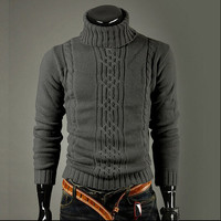 Mens Comfortable Pullover Patterned Sweater