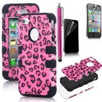 Pandamimi ULAK Hybrid Case Cover High Impact Leopard Rose Silicone for iPhone 4S 4 4G+ Stylus
