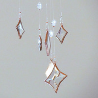 Geometric Faceted Clear Glass Crystal and Copper Mobile