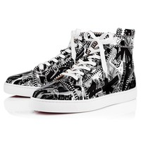 Christian Louboutin Cl Louis Orlato Men's Flat Patent Nicograf Black/white Sneakers - Best Deal Online