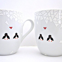 2 Penguins in Mosaic Snow- Hand Painted Coffee Cups