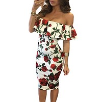 Fashion Off Shoulder Flower Print Frills Strapless Dress