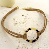 Tan Suede Choker Necklace with Tortoise Circle