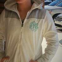 Monogrammed Hooded Silken Fleece Jacket  Font Shown MASTER CIRCLE