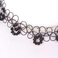 Black Beaded Accent Looped Design Tattoo Choker Necklace