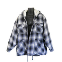 Flannel Jacket 90s Grunge Jacket Men Flannel Blue Flannel 90s Jacket Plaid Jacket Blue Jacket Men Jacket Hooded Jacket Sherpa Jacket Clothes