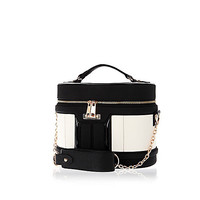 River Island Womens Black round make up vanity case