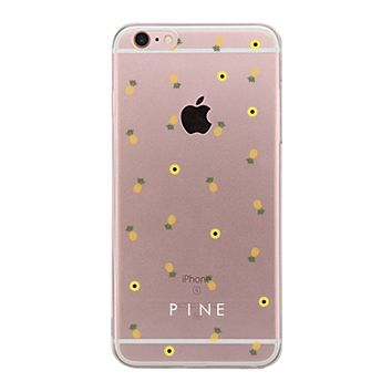 Pineapple Pattern BFF Clear Phone Case - Pine Left
