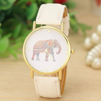 Fashion Women's Quartz Dial Watch Stainless Steel Watch with White Leather Band Elephant Printing Pattern Weaved Watch = 1932201284