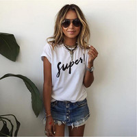 "White ""Super"" Letter Print Short Sleeve T-Shirt"