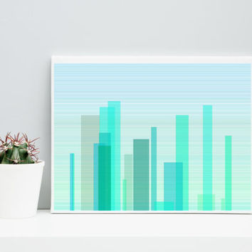 Abstract Art Cityscape cityScape_9w, Limited Edition Giclee 10x8, Paul Klee inspired geeky wall art.