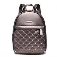 Diamond Lattice Brown Leather Mini Backpack