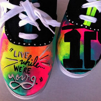 "1D ""Live While We're Young"" inspired shoes."