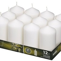 Bolsius Set Of Pillar Candles White 12Pk. 128 X 68mm (aprox 2.7x5 inch)