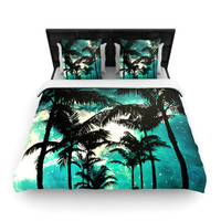 """Caleb Troy """"Palm Trees & Stars"""" Queen Woven Duvet Cover - Outlet Item"""