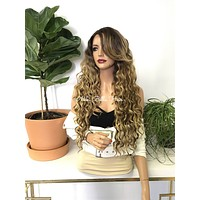 Balayage Blonde Human Hair Blend Deep Invisible Parting Lace Front Wig - Alison