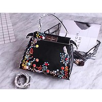 FENDI WOMEN'S COLORS FLOWERS LEATHER HANDBAG SHOULDER BAG