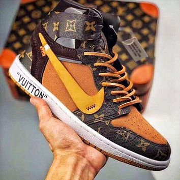 NIKE OFF-WHITE x AJ1 new couple color matching high-top sneakers