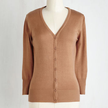 Scholastic Mid-length 3 Button Down Charter School Cardigan in Camel