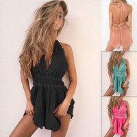 Womens Lace V Neck Mini Playsuit Holiday Backless Jumpsuit Ladies Beach Dress