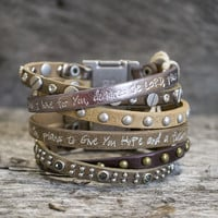 Bible Verse Magnetic Leather Bracelets