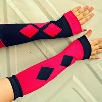 Deluxe Harley Quinn inspired Arm Warmer Gloves Cosplay Costume
