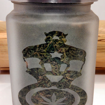 Captain America Etched Glass Stash Jar- Free UPGRADE to Priority Mail within the US
