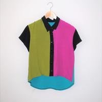 colour blocked rayon blouse handmade multi colored color block button up short sleeve collared shirt small