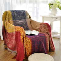 Bohemian Chenille blanket sofa decorative slipcover Throws on Sofa Bed Plane Travel Plaids Rectangular color stitching blankets
