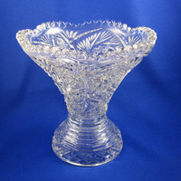 Pressed Glass Vase, Vintage with Scalloped Edge, Pittsburg pattern