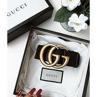 GG GUCCI Belt Hot Sale Classic production Woman Men Fashion Smooth Buckle Belt Leather Belt + Gift Box