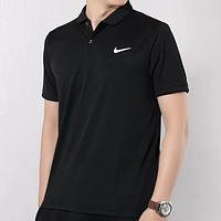 NIKE New fashion hook print lapel couple top t-shirt Black