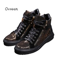Ovxuan Luxury Genuine Leather Winter Boots Homme Men Snake Pattern Leather Motorcycle Boots Men Metal Buckle Mens Dress Boots
