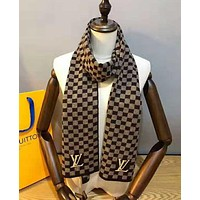 LV Louis Vuitton Popular Couple Retro Plaid Cashmere Cape Scarf Scarves Shawl Accessories