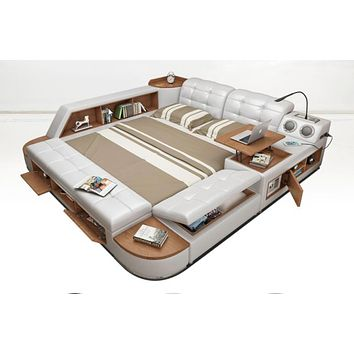 Post Modern Genuine Leather Doubled Bed