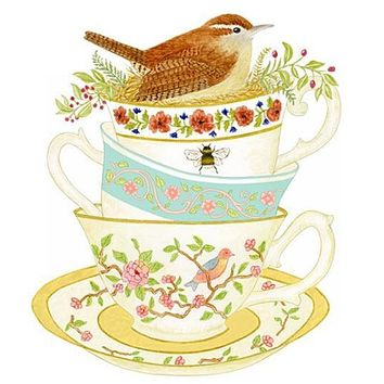 Bird on Stacked Tea Cups Set of 2 Cotton Tea Towels