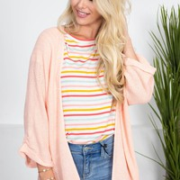 Holly Bright Knit Cardigan | Peach