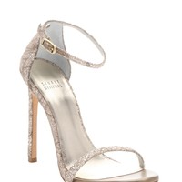 Quartz Sugar Lace And Glitter Nudist Stiletto Sandals