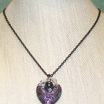 Essential Oil Heart Shaped Diffuser Locket Gunmetal Aromatherapy Essential Oil Filigree Heart Locket Necklace with Gray Pearl, Crystal Charm