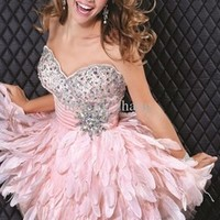 Alibaba.com - Wholesale Wholesale Alibaba Off Shoulder Crystals Pink Ruffles Short Formal Cocktail Dresses 2014 ZYC1075