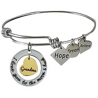 Expandable Bangle I Love You to the Moon and Back Grandma-Gold Center Heart