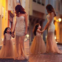 Mother Daughter Prom Dresses Long 2017 Lovely Sweetheart Pearls Tulle Floor Length Evening Party Gowns Custom Made 541607