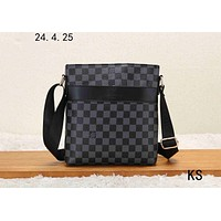 LV 2019 new men's business style classic presbyopic briefcase shoulder diagonal package black check