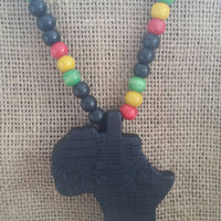 Black Africa map pendant, wooden beaded necklace,  rasta colors, Ethiopia flag colors