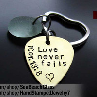 Gift for Men. Hanstamped. Hand Stamped Custom Guitar Pick. Keychain. Mens Handstamped Jewerly. Love Never Fails. 1 Cor 13:8