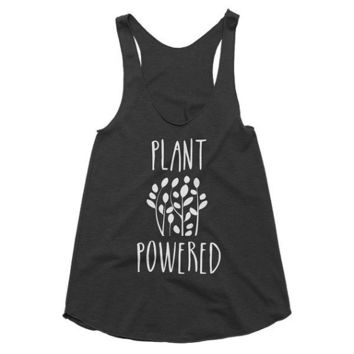 Plant powered vegan, vegetarian racerback boho gypsy tank, Funny Tank, Yoga Shirt, Gym Shirt, Muscle, Gym Tank, Yoga Top, hot yoga, Gym Top