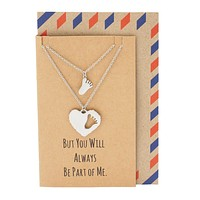 Geelin Mother Daughter Footprint and Heart Necklace, Gifts for Moms, comes with Inspirational Quote