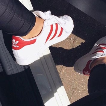 """""""Adidas"""" Fashion Shell-toe Flats Sneakers Sport Shoes White red line"""