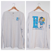 Vintage Long Sleeve UNC Chapel Hill Tar Heels Men's Gray Henley T-Shirt 1993