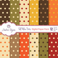 "Fall Polka Dots Digital Paper Pack 12""x12"", Instant Download, Commercial Use, Printable 300 dpi"
